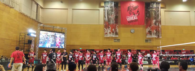 試合後のヴォレアス北海道の選手たち